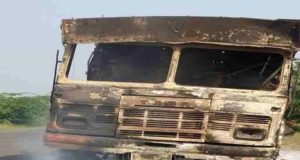 Ahmednagar Road the burning truck Karjat