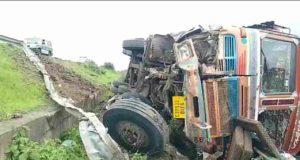 Accident truck crashed near Dolasane flyover on Nashik-Pune highway