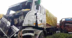 Accident A head-on collision between an Eicher truck