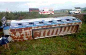Sangamner Accident bus overturned near karhe Ghat
