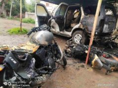 Sangamner four wheeler and bullet burning