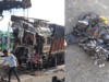 horrific accident involving two cargo trucks and a two-wheeler