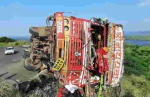 Accident truck carrying chemical powder overturned in the ghat